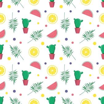 Padrão de verão bonito e brilhante sem costura com cacto de melancia e limão
