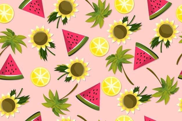 Padrão de verão com fatias de melancia