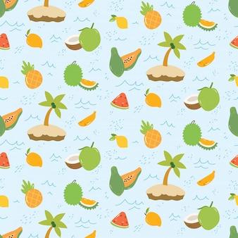 Padrão de verão com frutas e ilha