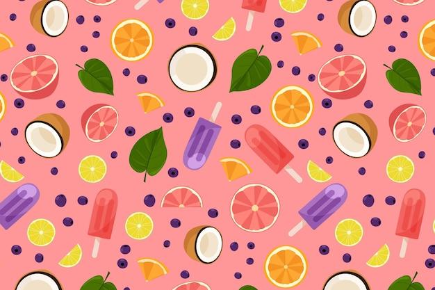 Padrão de verão com frutas e sorvete