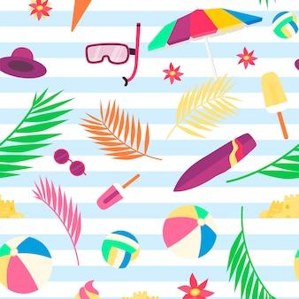 Padrão de verão com objetos de praia e acessórios