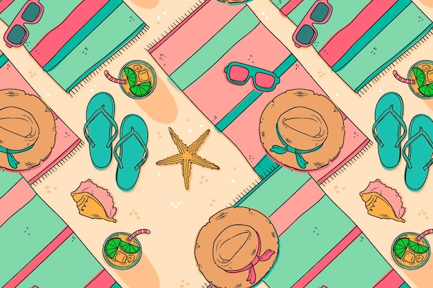 Padrão de verão com praia