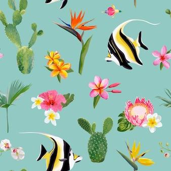 Padrão de verão floral sem costura tropical. para papéis de parede, fundos, texturas, têxteis, cartões.