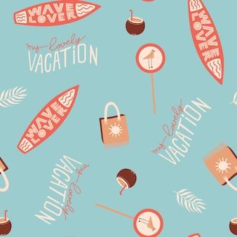 Padrão de verão sem costura com placa de surfe, bolsa de praia, coquetel de coco, estrada, sinal, e, lettering
