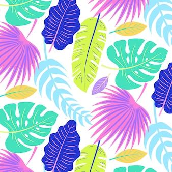 Padrão de verão tropical com folhas coloridas