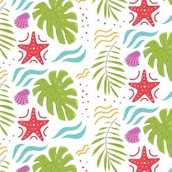 Padrão de verão tropical com folhas monstruosas, estrelas do mar, conchas