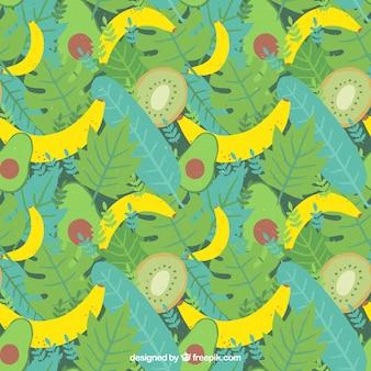 Padrão de verão tropical com frutas diferentes