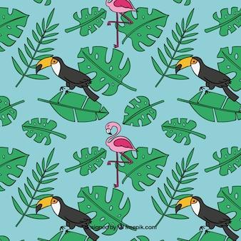 Padrão de verão tropical com pássaros e plantas