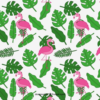 Padrão de verão tropical com plantas e flamingos