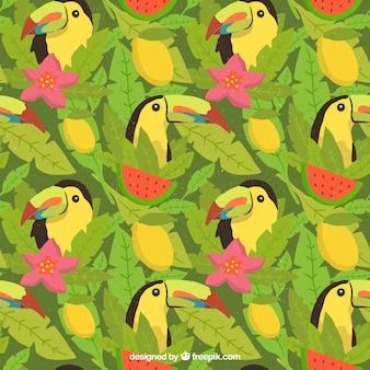 Padrão de verão tropical com tucanos e frutas