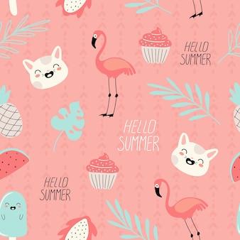 Padrão de verão vetor sem costura com rabiscos no estilo cartoon com frutas, flamingos e gatos