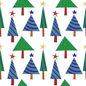 Padrão de véspera de ano novo sem costura de árvores de natal decoradas estilizadas verdes