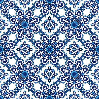 Padrão de vetor abstrato sem costura ornamental azul e branco para tecido
