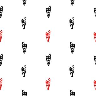Padrão de vetor com corações pretos e vermelhos em um estilo artesanal em um fundo branco