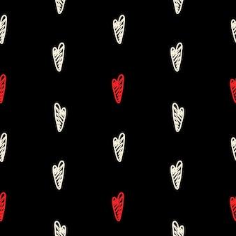 Padrão de vetor com corações pretos e vermelhos em um estilo artesanal em um fundo preto.