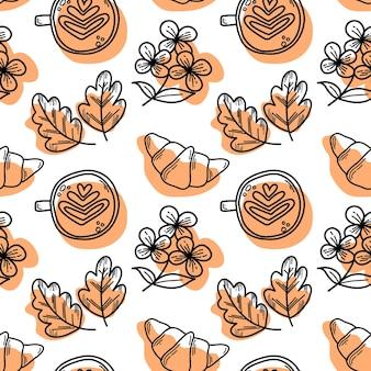 Padrão de vetor com croissants e flores de crisântemo cappuccino em estilo doodle