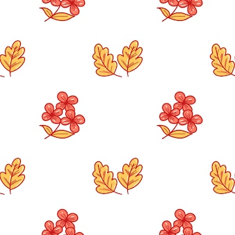 Padrão de vetor com duas folhas de carvalho amarelo, um elemento isolado em um fundo branco em um desenho animado