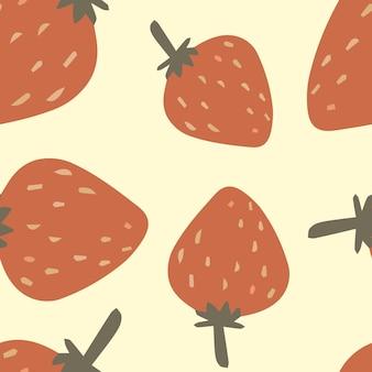 Padrão de vetor com morangos bonitos em estilo cartoon para têxteis infantis