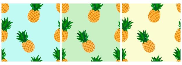 Padrão de vetor com padrão de abacaxi de frutas tropicais para cartões postais de camisetas