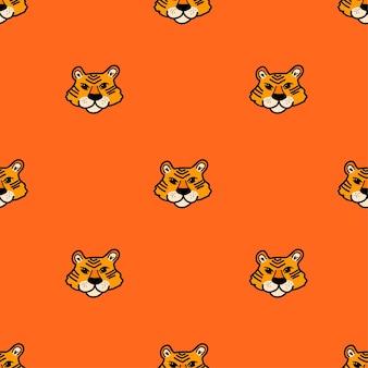 Padrão de vetor com rosto de tigre em estilo cartoon em fundo laranja