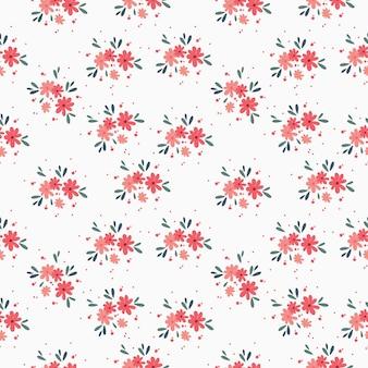 Padrão de vetor de bouquet floral com pequenas flores e folhas