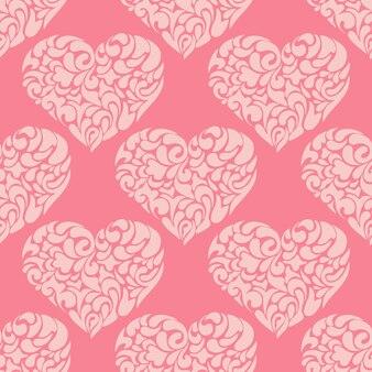 Padrão de vetor de coração de amor vintage. fundo de convite de dia dos namorados