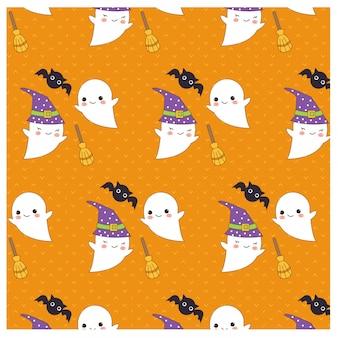 Padrão de vetor de elementos fofos de halloween
