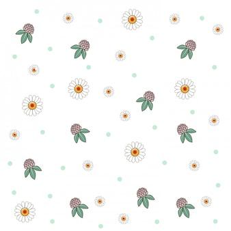 Padrão de vetor de flor fofo