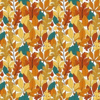 Padrão de vetor de folhas de outono. impressão perfeita de outono com folhagem da floresta. doodle padrão aconchegante. folha de outono abstrata. impressão de folhas de carvalho e bordo de colagem.