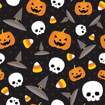 Padrão de vetor de halloween sem emenda