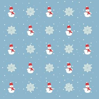 Padrão de vetor de natal. boneco de neve e flocos de neve em um fundo azul