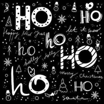 Padrão de vetor de natal e feliz ano novo com texto ho ho ho sobre fundo vermelho. preto e branco.