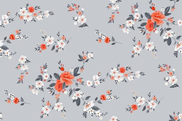 Padrão de vetor de primavera sem costura com motivos florais
