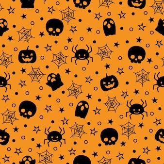 Padrão de vetor de silhueta sem costura halloween