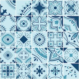 Padrão de vetor de telha geométrica lisboa, mosaico de azulejos antigos retro português ou espanhol, design mediterrâneo azul sem emenda.