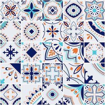 Padrão de vetor de telha geométrica lisboa, mosaico de azulejos antigos retro português ou espanhol, design mediterrâneo sem costura azul e laranja.