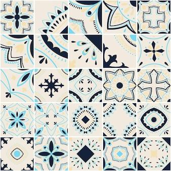 Padrão de vetor de telha geométrica lisboa, mosaico de azulejos antigos retro português ou espanhol, design mediterrâneo sem costura azul e preto.