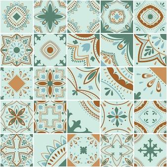 Padrão de vetor de telha geométrica lisboa, mosaico de azulejos antigos retro português ou espanhol, design mediterrâneo sem emenda.