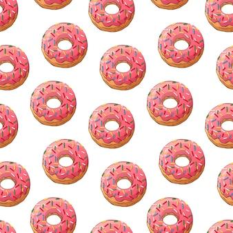 Padrão de vetor donuts vitrificados decorados com coberturas.