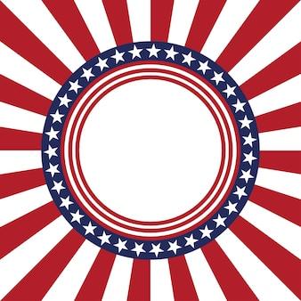 Padrão de vetor estrela dos eua moldura redonda borda do círculo patriótico americano com padrão de listras de estrelas