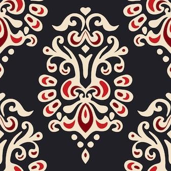 Padrão de vetor floral abstrato sem emenda de damasco para tecido