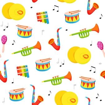 Padrão de vetor infantil sem costura com instrumentos musicais desenhados à mão em estilo cartoon