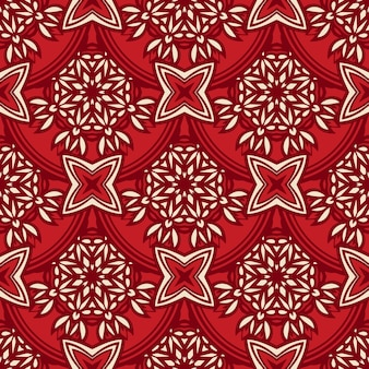 Padrão de vetor motivo em azulejos sem costura damasco. design de tecido medalhão de luxo vermelho damasco.