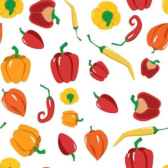 Padrão de vetor sem costura brilhante de pimentas multicoloridas. um vegetal fresco dos desenhos animados isolado em um fundo branco. a ilustração é usada para tecido, livro, pôster, cartão postal, capa de menu, páginas da web.