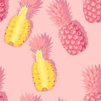 Padrão de vetor sem costura com abacaxi rosa em alto nível de detalhes