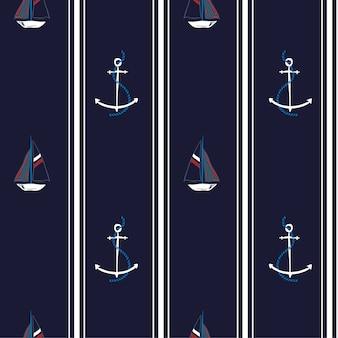 Padrão de vetor sem costura com âncoras e barco do oceano