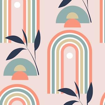 Padrão de vetor sem costura com arco-íris abstratos multicoloridos e folhas no estilo boho em backg rosa