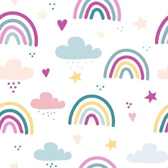 Padrão de vetor sem costura com arco-íris desenhado, estrelas e corações, textura infantil escandinava