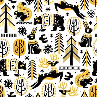 Padrão de vetor sem costura com bosques de animais da floresta e flocos de neve