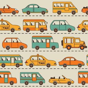 Padrão de vetor sem costura com carros e ônibus.